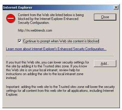 Figure 1: Internet Explorer Enhanced Security