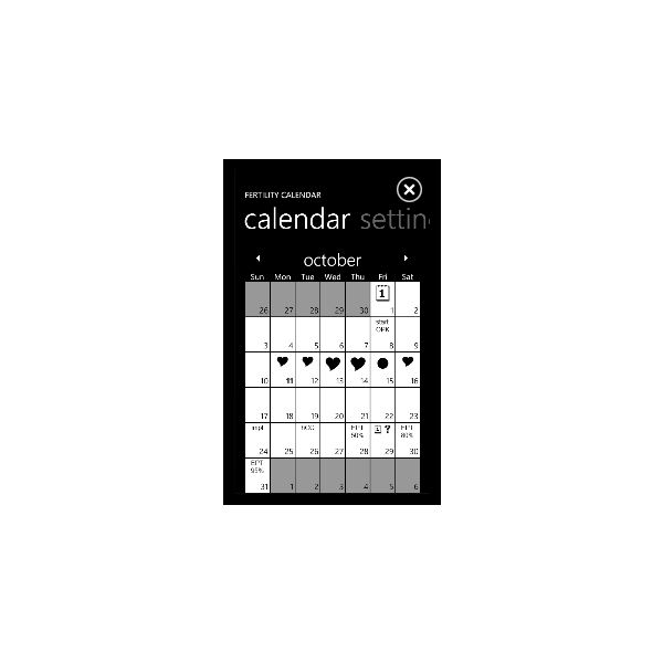 Windows Phone 7 fertility calendar apps