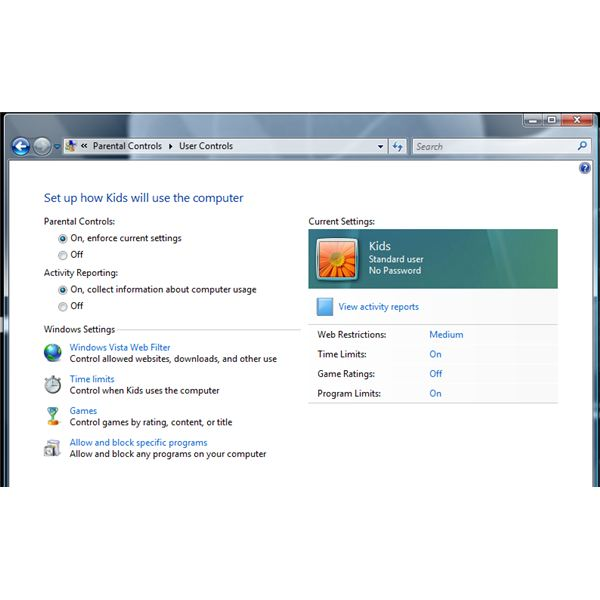 Parental Controls in Windows Vista