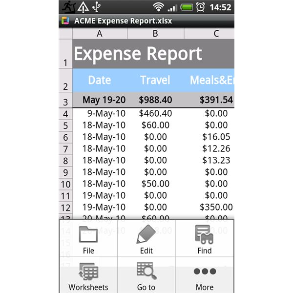 Thinkfree Office for Android Excel View