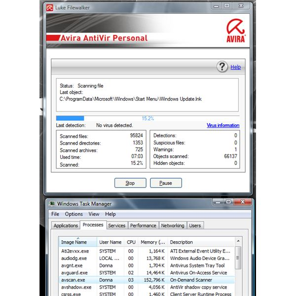 Memory Usafe of AntiVir System Drive Scanner