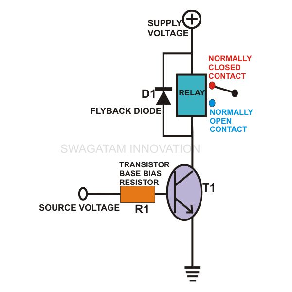 how to wire a relay to a transistor explained through formulas rh brighthubengineering com 12V Relay Schematic relay connection wiring