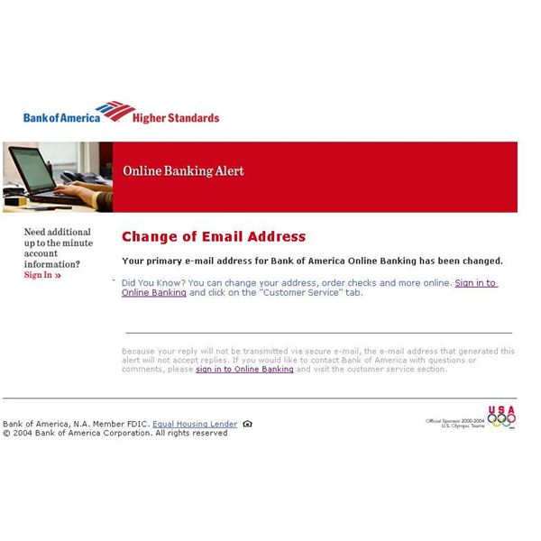 Example of a phishing email targeting Bank Of America