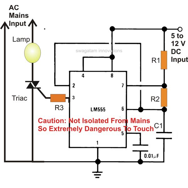 Simple IC 555 AC Mains Lamp Flasher Circuit Diagram