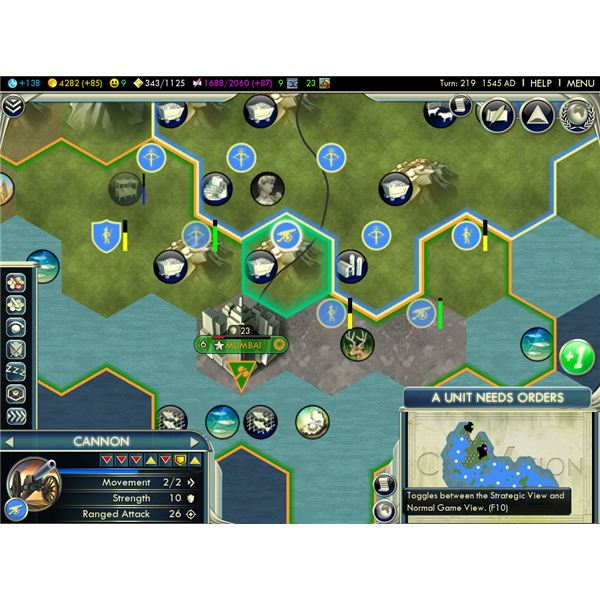 Civilization 5 Ranged Attacks - a view of the hexagon map