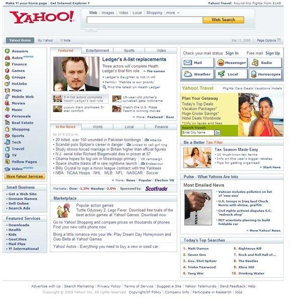 Browsing the Yahoo.com Home Page.