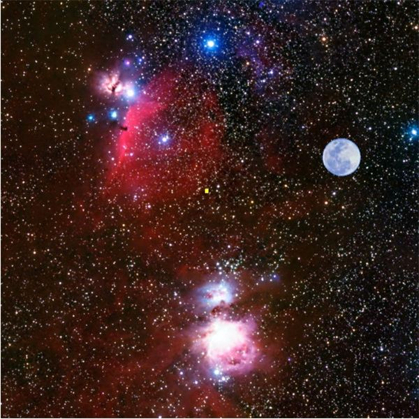 Hubble Field of View - .05 Degrees (Little yellow square in the center.)