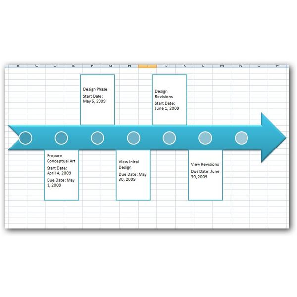 Sample Project Timeline in Excel 2007