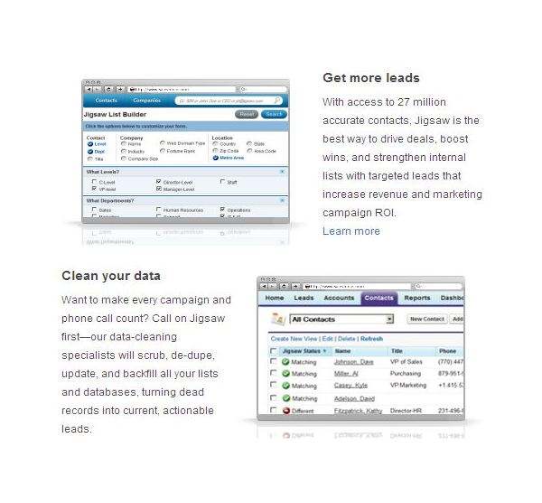 Screenshot Salesforce Jigsaw