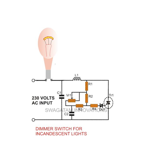 Dimmer Switch For Incandescent Lamp, Circuit Diagram, Image