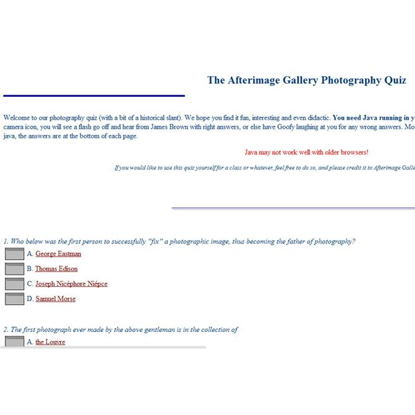 Afterimage Gallery Photography Quiz