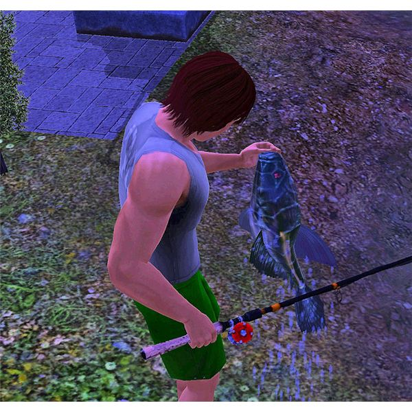 The Sims 3 Vampire Fish being Caught