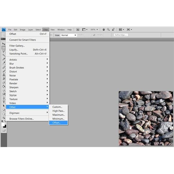 The location of the offset filter in Adobe Photoshop CS4