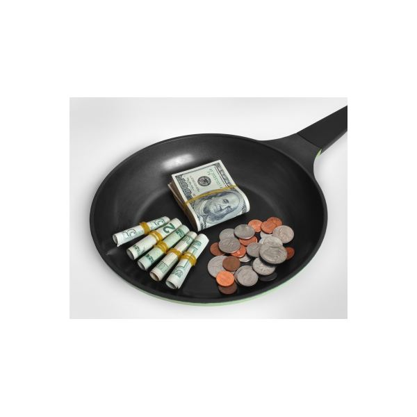 Money on a pan