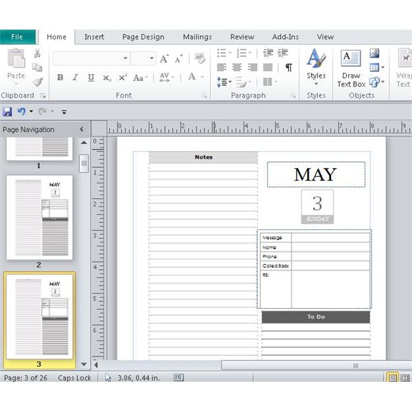 Microsoft Publisher Daily Calendars