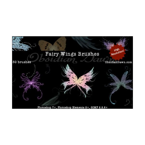 Fairy Wings Brushes by redheadstock