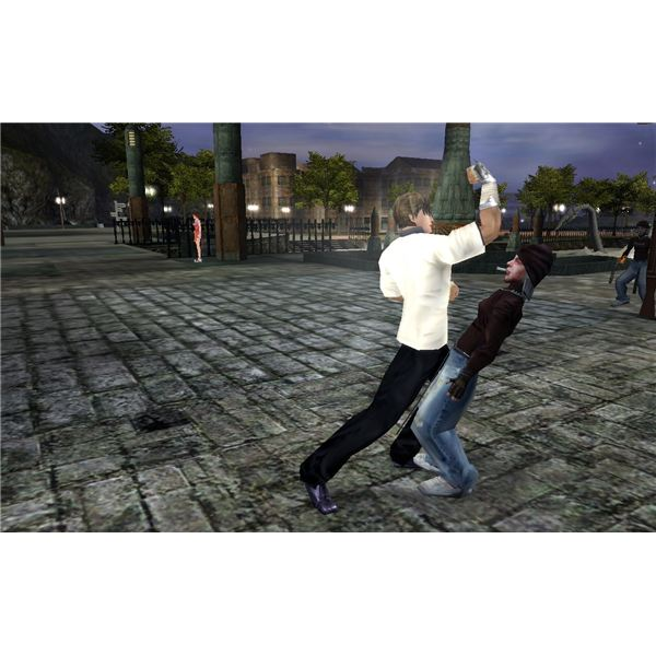 Practicing uppercuts on hoodlums