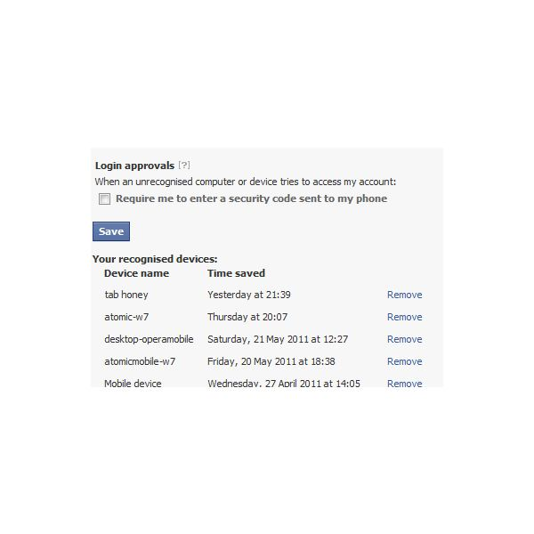A list of devices used to access a Facebook account
