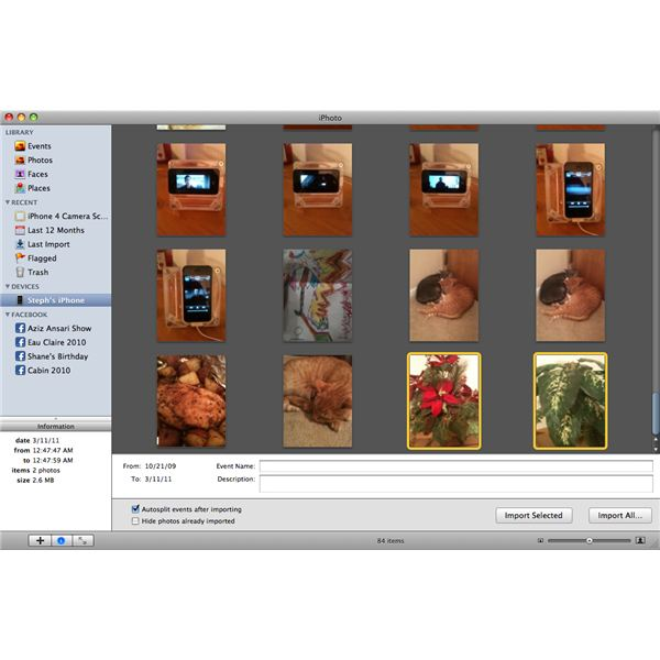 iPhoto Import Selected or Import All