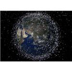 Space Junk in Low Earth Orbit - Satellite Objects Not to Scale. Courtesy ESA