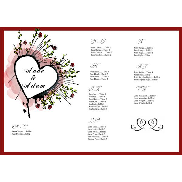 Tips on Creating a Wedding Seating Chart: Free Sample Template for ...