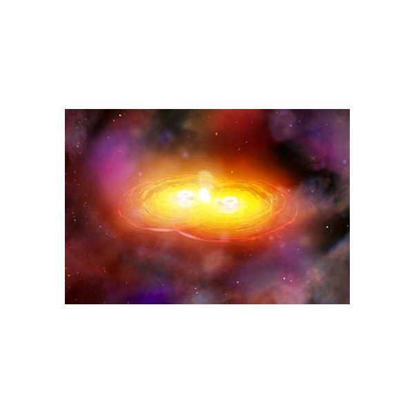 Artist's impression of two black holes merging