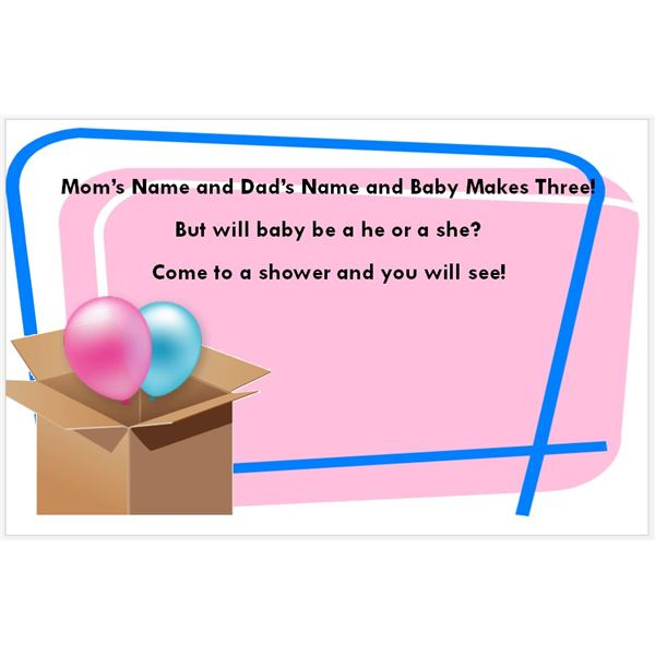 Gender Reveal Baby Shower Invitation