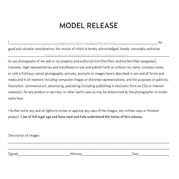 Legal documents a commercial photographer should have for Standard model release form template
