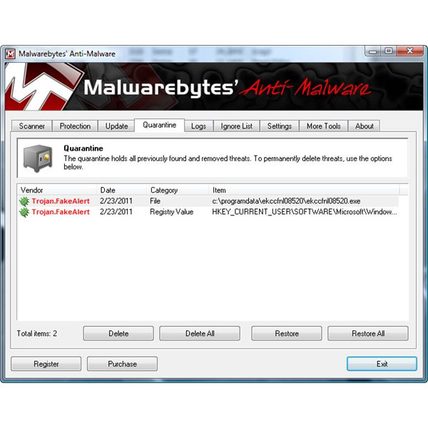 MBAM quarantined System Tool rogue software