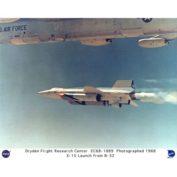 The X-15 launching from its carrier, a B-52