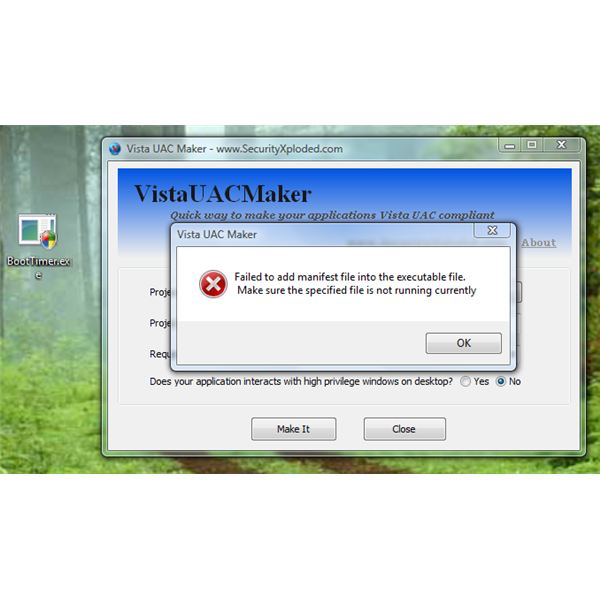 VistaUACMaker modified the permission of the program