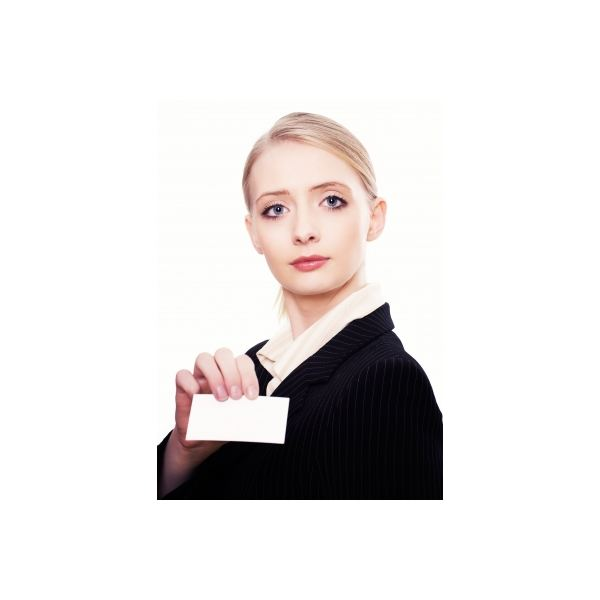 FreeDigitalPhotos, Woman with business card, Michal Marcol