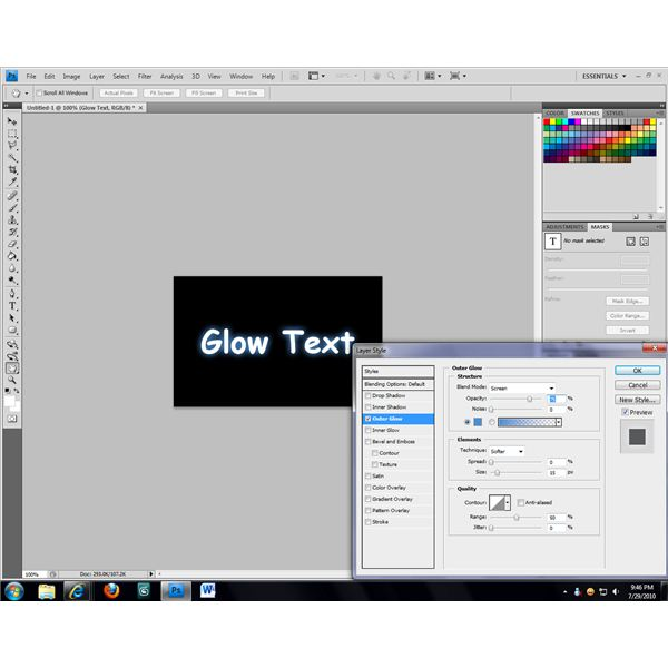 The easiest way to create glowing text is with a filter or layer attribute.