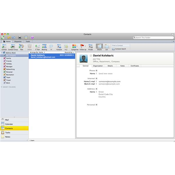 Outlook for Mac 2011 Contact Feature