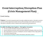 sample crisis management plan for a wedding event