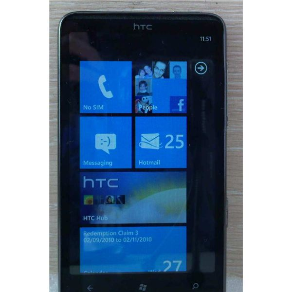 The HTC HD7 features Windows Phone 7 and the Metro UI