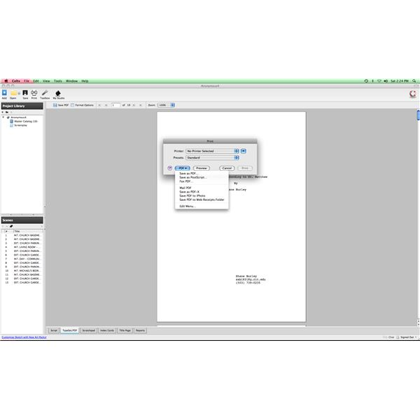 Printing & Exporting Celtx Files: Options for Printing and