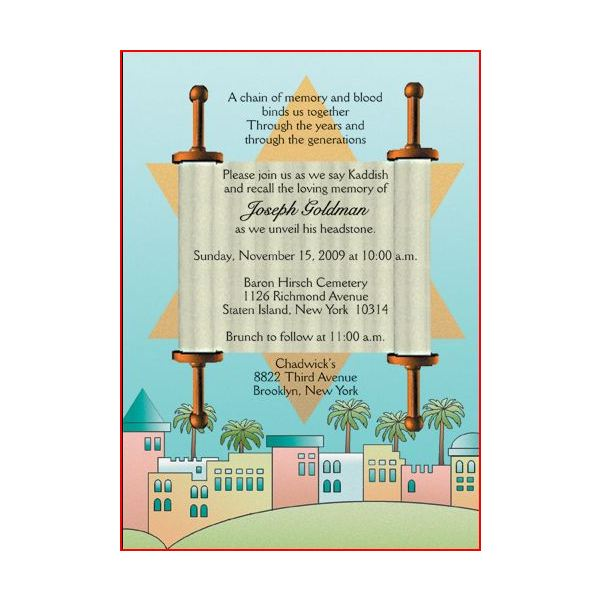 Invitation Cards for a Tombstone Unveiling Worthy Samples to Buy or