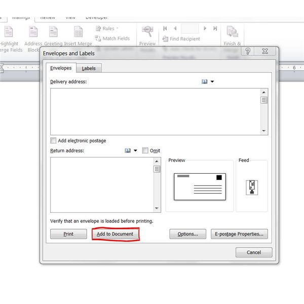 Printing Word Envelopes: Add to Document