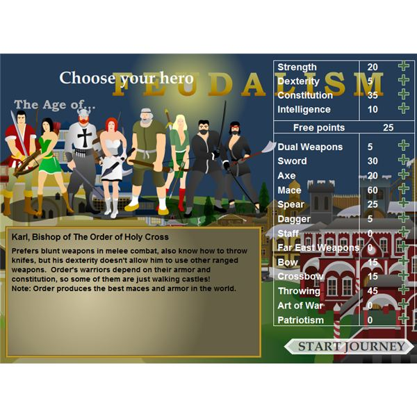 Feudalism 1 on Kongregate: New Game Screen