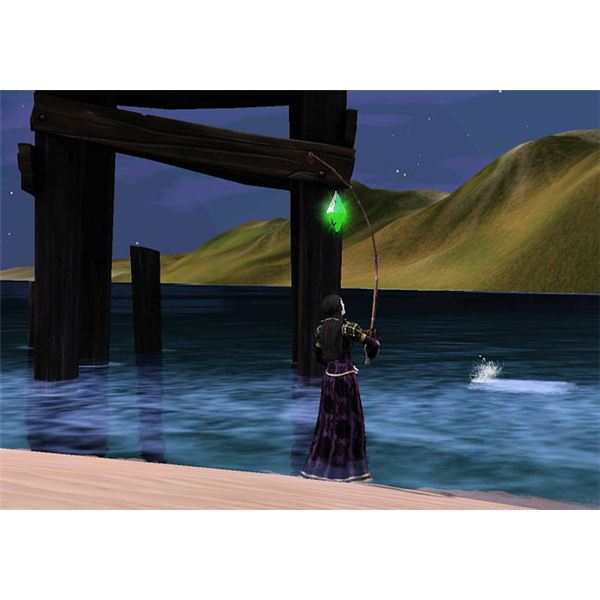 The Sims Medieval fishing by docks