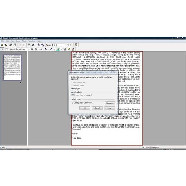 Send document to Word 2007.
