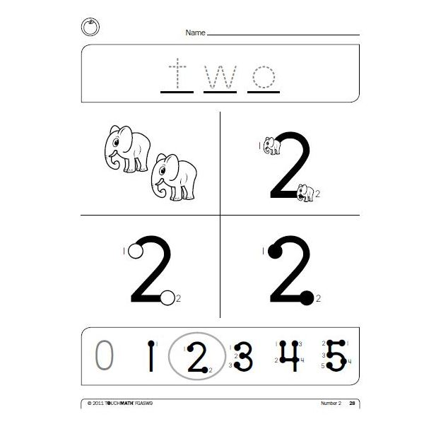 Sample from Free Touch Math Worksheet