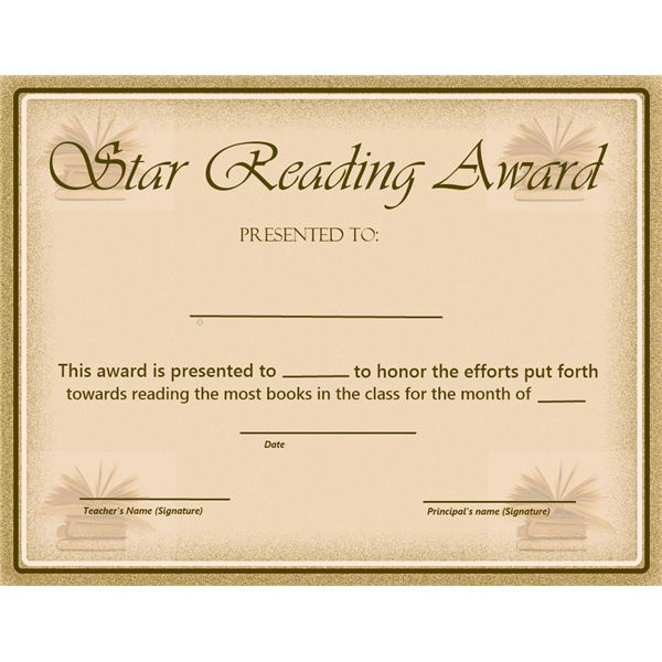This Star Reading Award will help you to recognize students who excel in their reading abilities