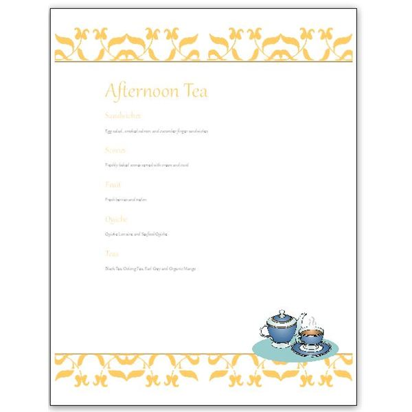 Hosting a tea download an afternoon tea menu template for for Tea party menu template