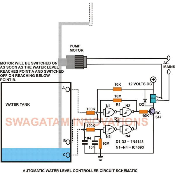 How to Build an Electronic Water Level Controller: A Simple Circuit Water Level Circuit Diagram on