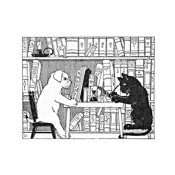 cat and dog in library (public domain)