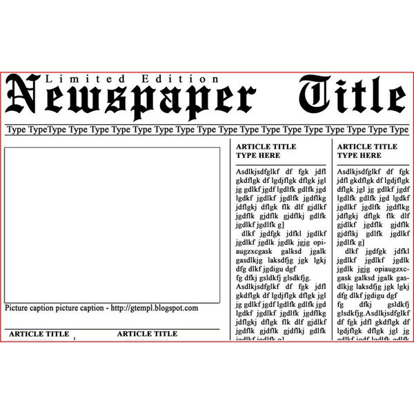 Newspaper layout templates excellent sources to help you for Old fashioned newspaper template free