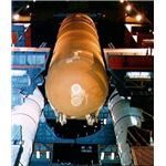 Mating of SRBs and external tank in VAB