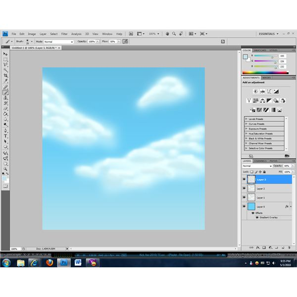 Shadows can help to create a more realistic cloud effect.